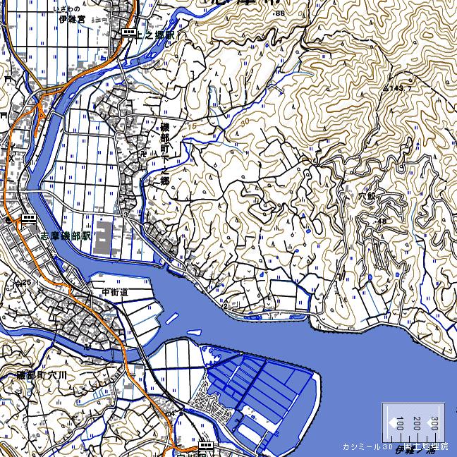 地形図:上之郷駅周辺