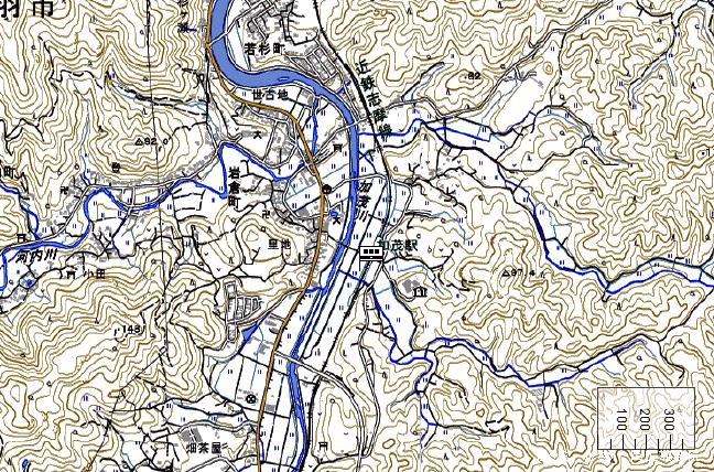 地形図:加茂駅周辺