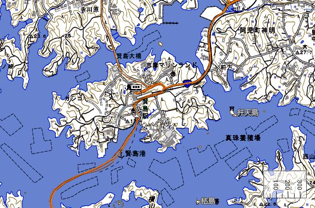 地形図:賢島駅周辺