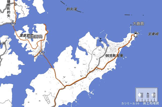 ルート図:安乗崎~渡鹿野島~的矢港間
