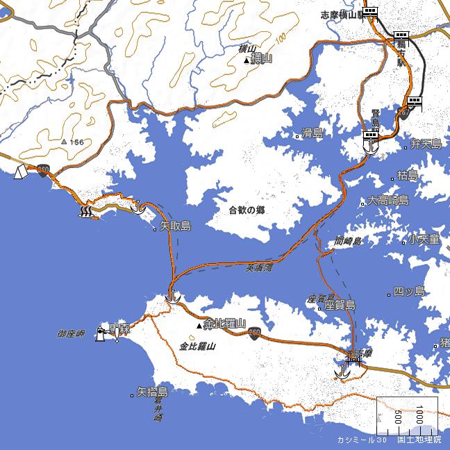 ルート図:礒笛岬展望台~賢島~和具港~御座岬間