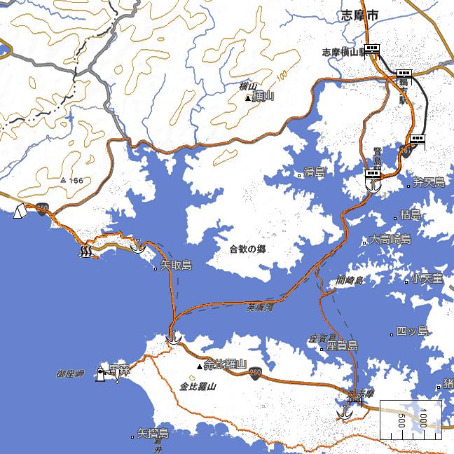 ルート図:賢島~御座港~浜島港間
