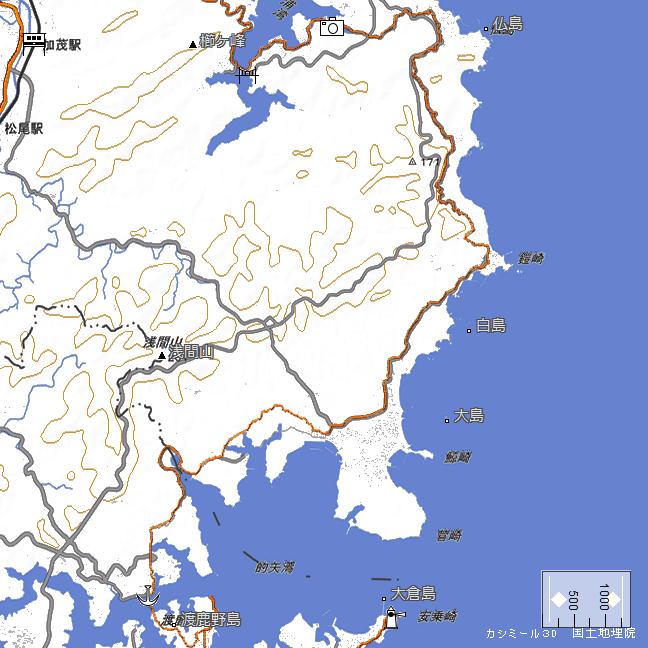 ルート図:的矢港~麻生の浦大橋間