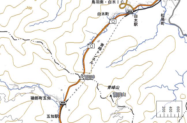 ルート図:白木~五知間