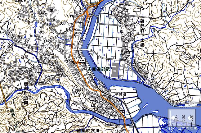 地形図:志摩磯部駅周辺