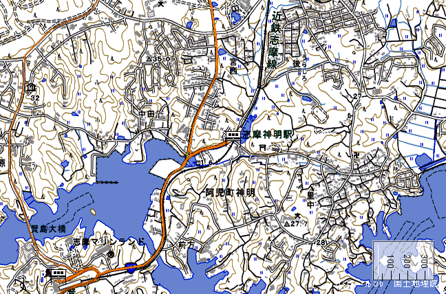 地形図:志摩神明駅周辺