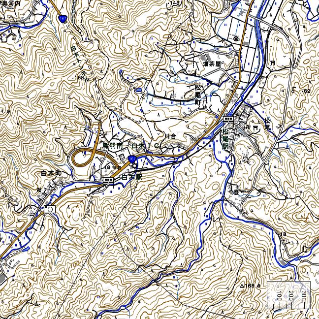 地形図:松尾駅・白木駅周辺