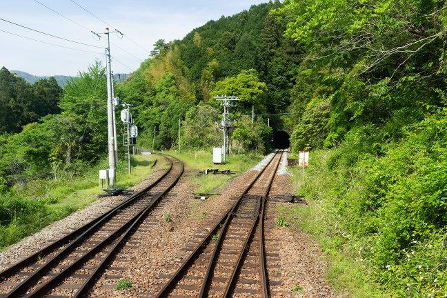 本線から引上線に入る列車の車中から分岐地点を眺める