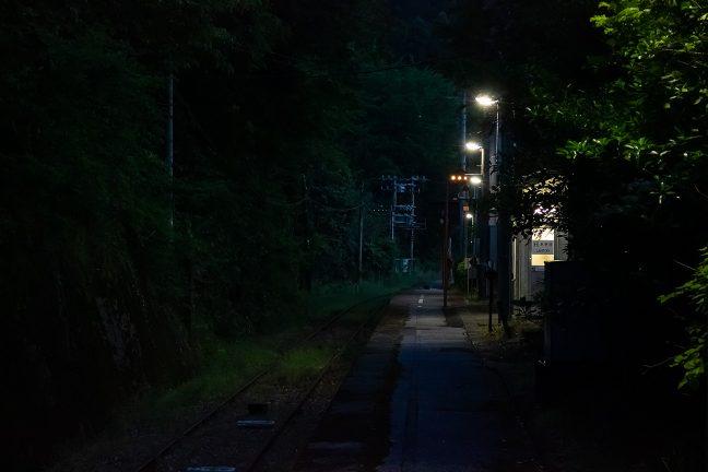 残照の中、明かりが灯り始めると一気に旅情駅の風情が出てくる