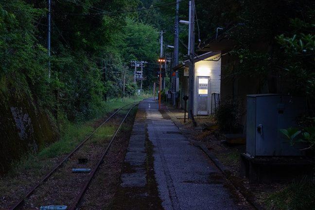 苔むした駅のホームに、新改駅の歴史と気候を感じる