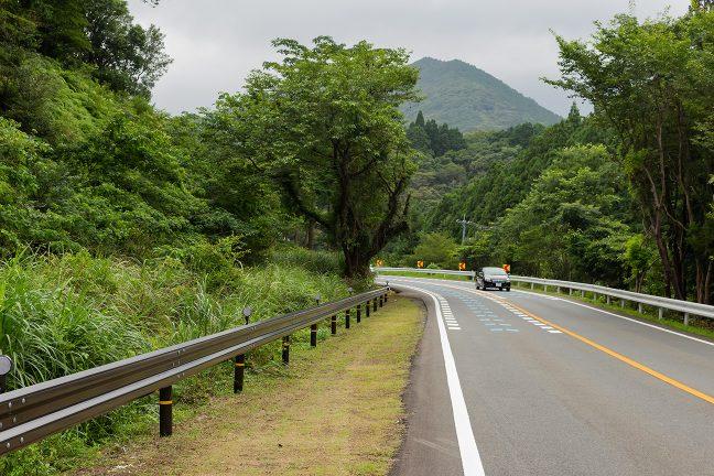 五知峠を切通で抜けた志摩線の旧線跡が、道路わきに続いていた