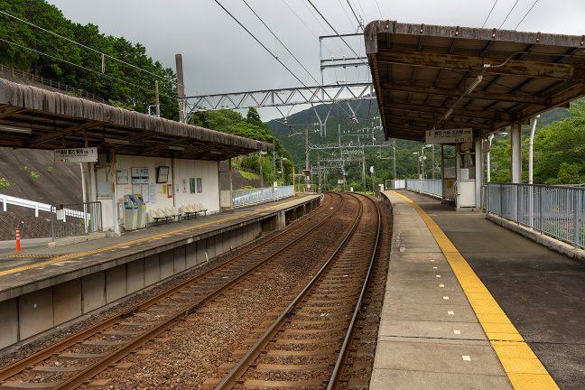 駅は相対式2面2線でホーム上の上屋のみのシンプルな構造