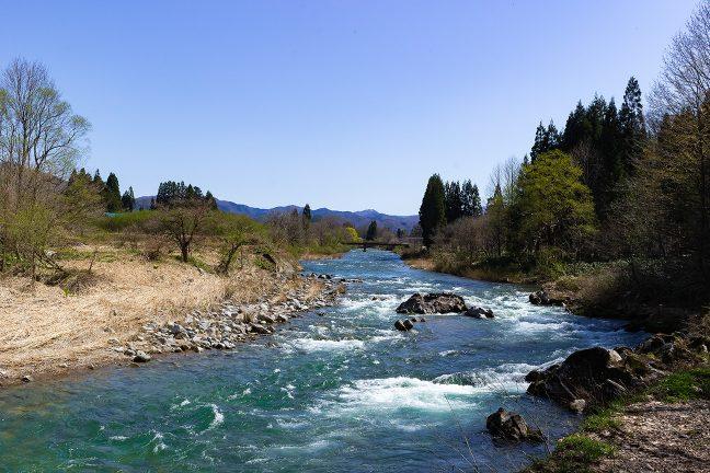 桧木内川と秋田内陸縦貫鉄道の橋梁