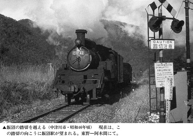引用図:飯沼駅付近を行くC12蒸気機関車「荒巻克彦・郷土出版社・1996年」