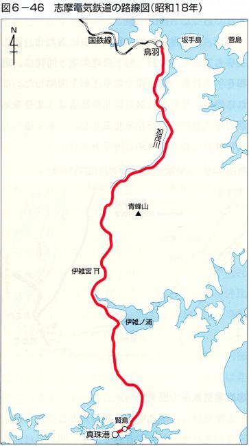 引用図:志摩電気鉄道の路線図(昭和18年)「近畿日本鉄道100年のあゆみ(近畿日本鉄道・2010年)」