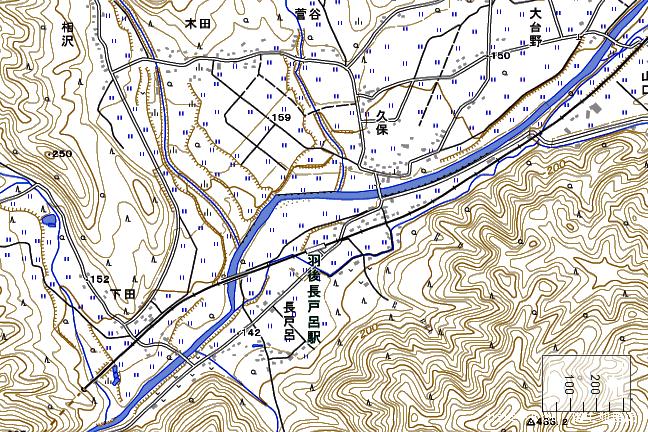 地形図:羽後長戸呂駅周辺