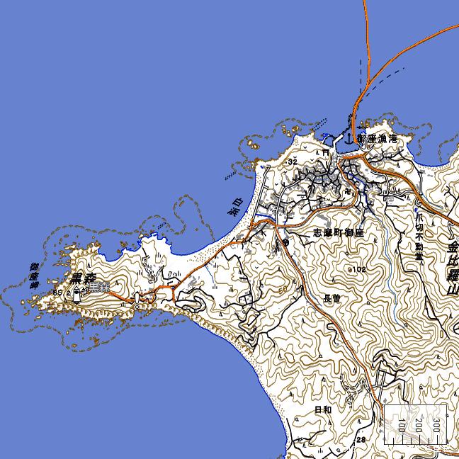 地形図:御座岬・御座漁港周辺