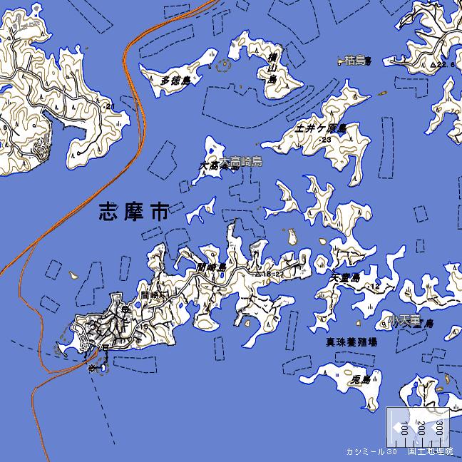 地形図:間崎島周辺