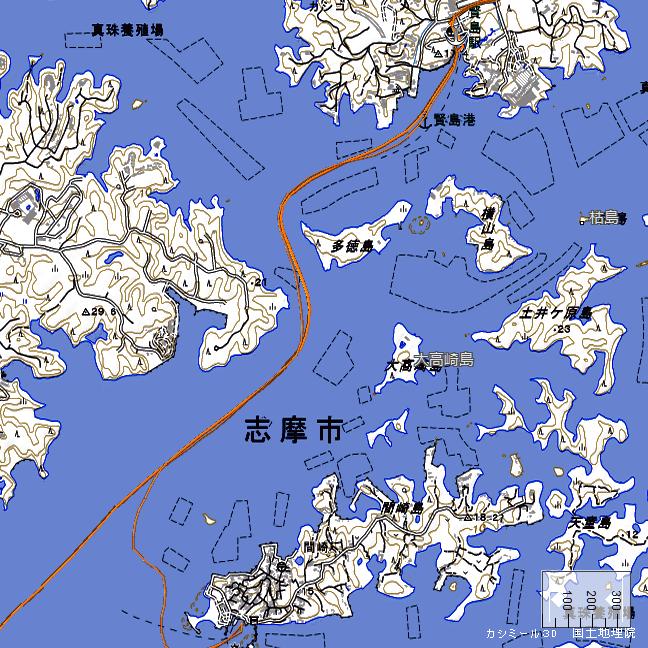 地形図:多徳島・横山島周辺