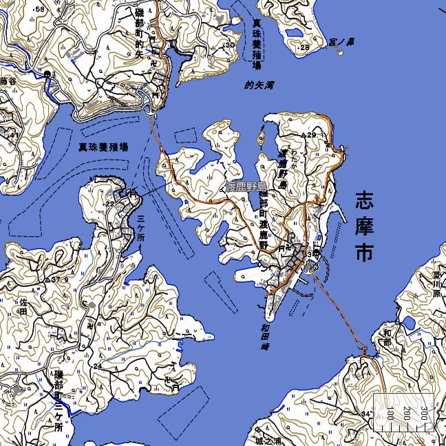 地形図:渡鹿野島周辺