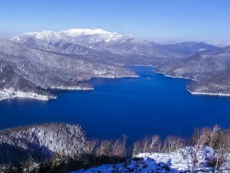 天望山から望む然別湖とウペペサンケ山(北海道:2002年11月)