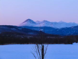 鶴居村から望む雌阿寒岳と阿寒富士(北海道:2003年1月)