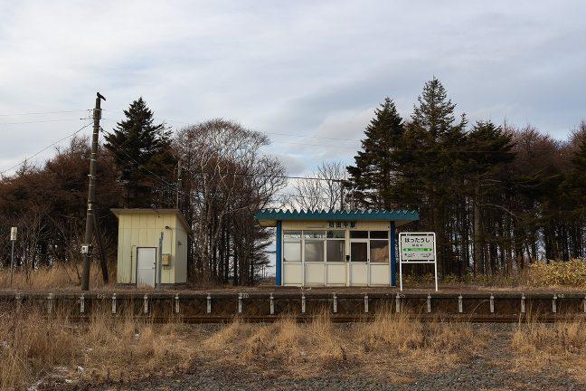 線路向かいの空き地から眺めた初田牛駅