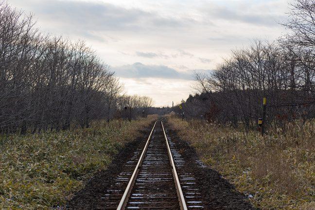 道道の踏切から見ると、交換可能駅だった頃の線形がはっきりと分かる