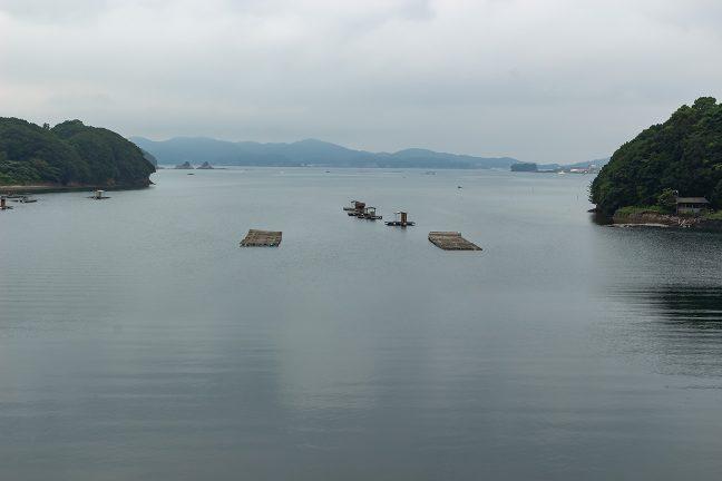 湾内には釣り用の筏が所々に浮かんでいる