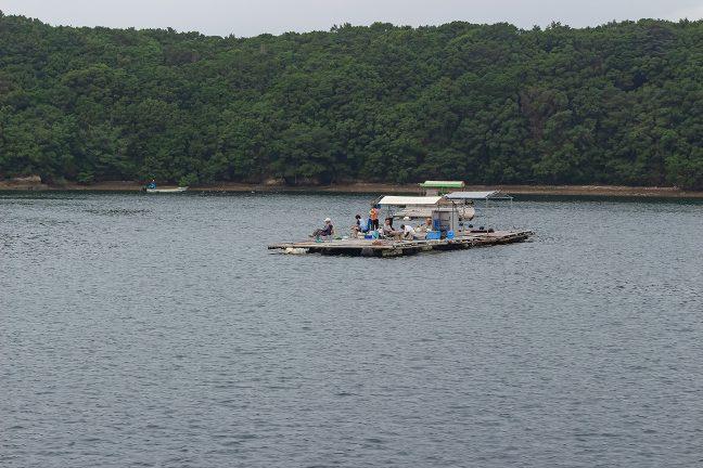 釣り人は朝早くから筏でのんびりと糸を垂れる
