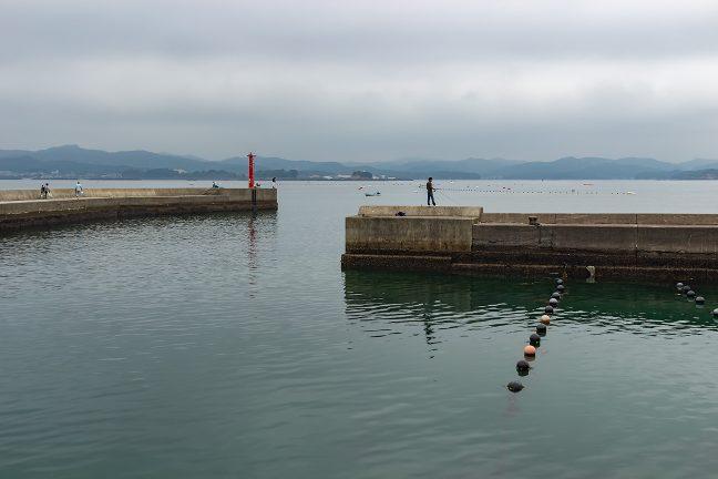 堤防には釣り人の姿がちらほら