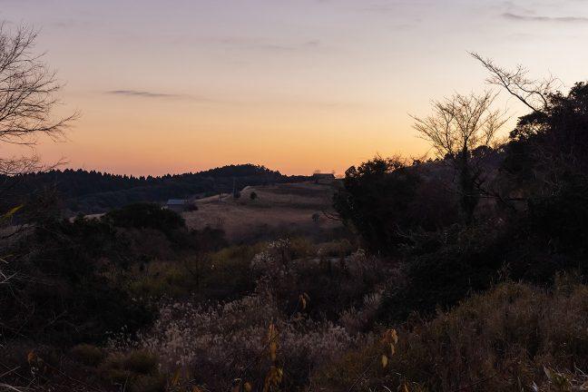 草原が広がる残照の矢岳高原付近