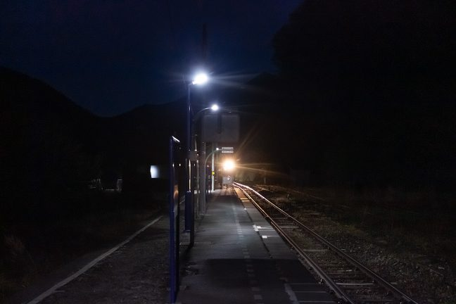 釜石に向かう普通列車が到着した