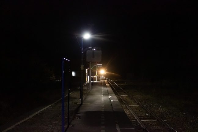 釜石方面に向かう最終列車が到着した