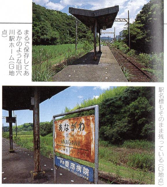 引用図:旧線時代の穴川駅跡「鉄道廃線跡を歩くⅣ(宮脇俊三・JTB・1997年)」
