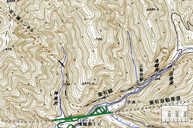 地形図:上有住駅周辺