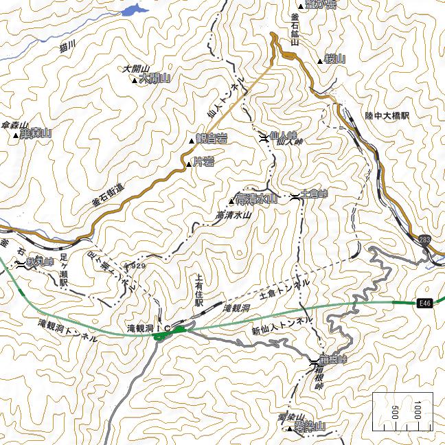 広域地形図:仙人峠・箱根峠周辺