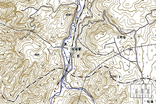 地形図:矢岳駅周辺