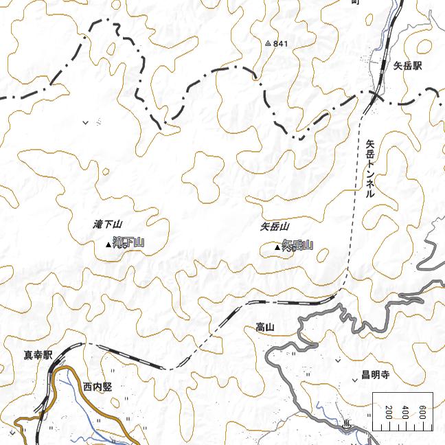 広域地形図:矢岳駅周辺