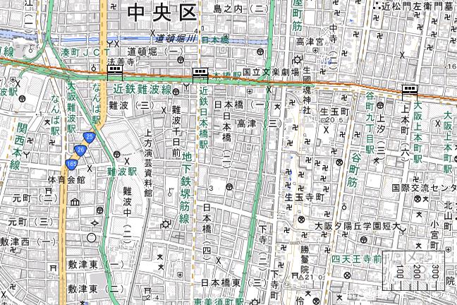 ルート図:大阪難波~大阪上本町間