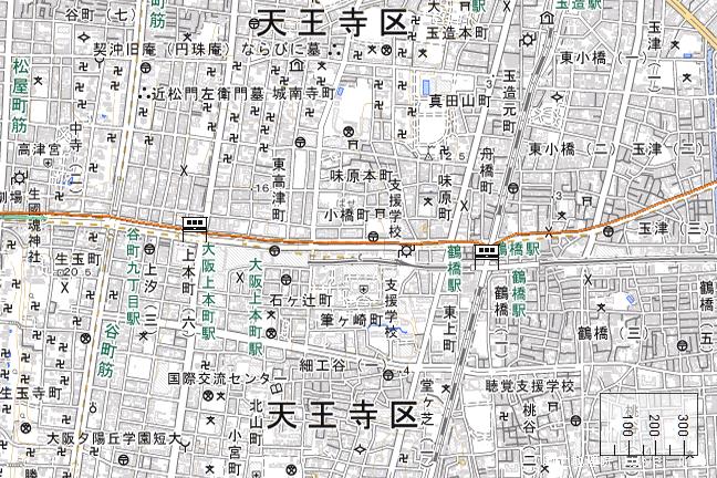 ルート図:大阪上本町~鶴橋間