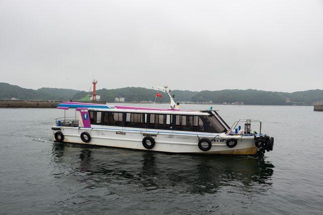 乗客を渡し終えるとすぐに対岸に戻っていく渡し舟