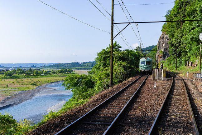 神尾駅のすぐ下を大井川が流れ下る
