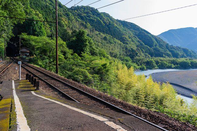ホームから旧駅舎と大井川を望む