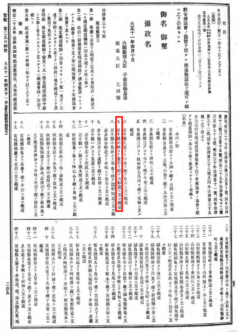 引用図:鉄道敷設法別表7(法律第37号・1922年)