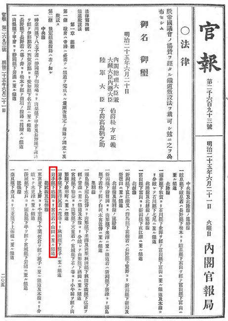 引用図:鉄道敷設法第2条(法律第4号・1892年)