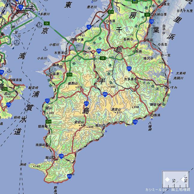 広域地形図:房総半島内陸鉄道路線図