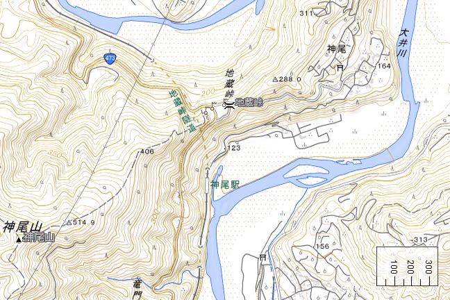 地形図:神尾駅周辺