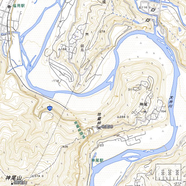 広域地形図:神尾駅周辺
