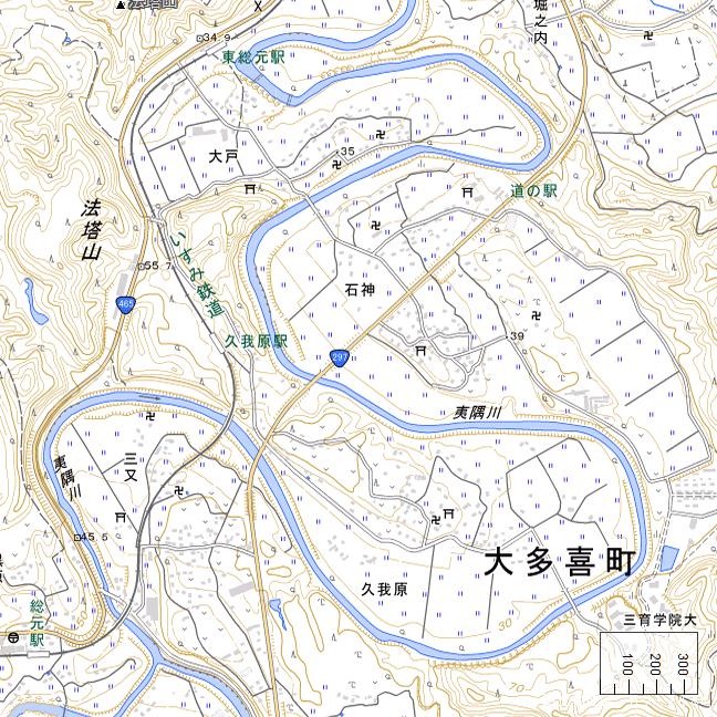 広域地形図:久我原駅周辺